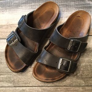 {Birkenstock} leather sandles